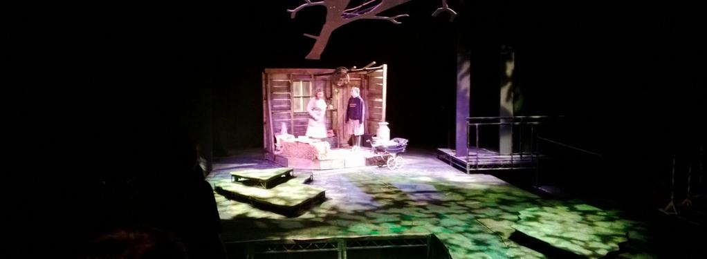 Photograph from Blue Remembered Hills - lighting design by Nigel Lewis