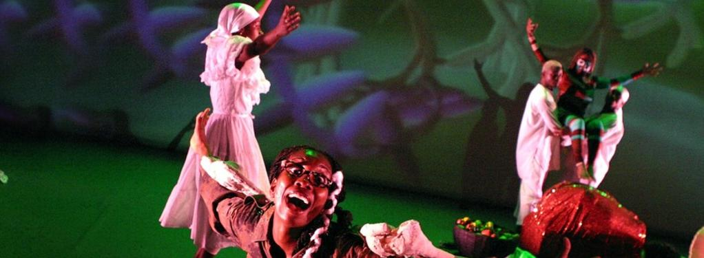 Photograph from Vodou Nation - lighting design by Malcolm Rippeth