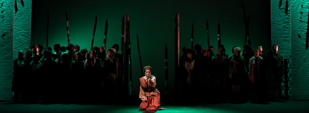 Photograph from The Snowmaiden - lighting design by Jake Wiltshire