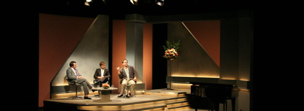 Photograph from Pete and Dud: Come Again - lighting design by Tim Mascall