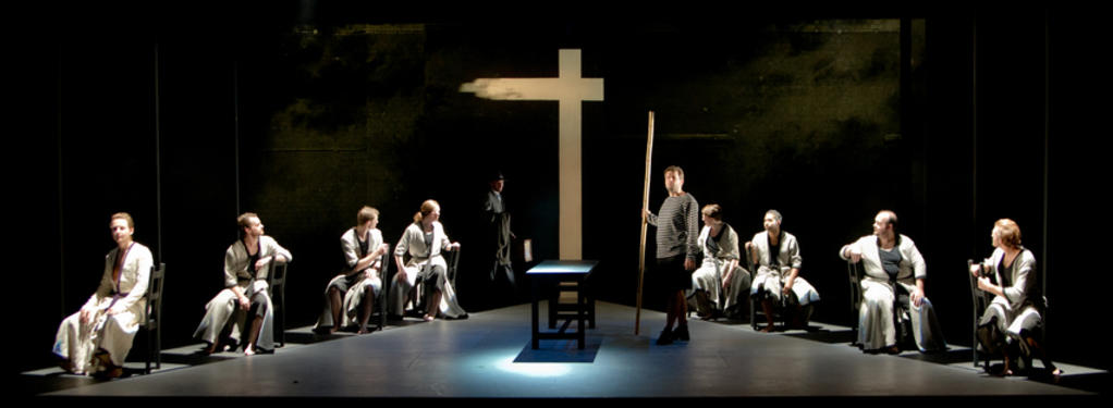 Photograph from Curlew River - lighting design by Jake Wiltshire