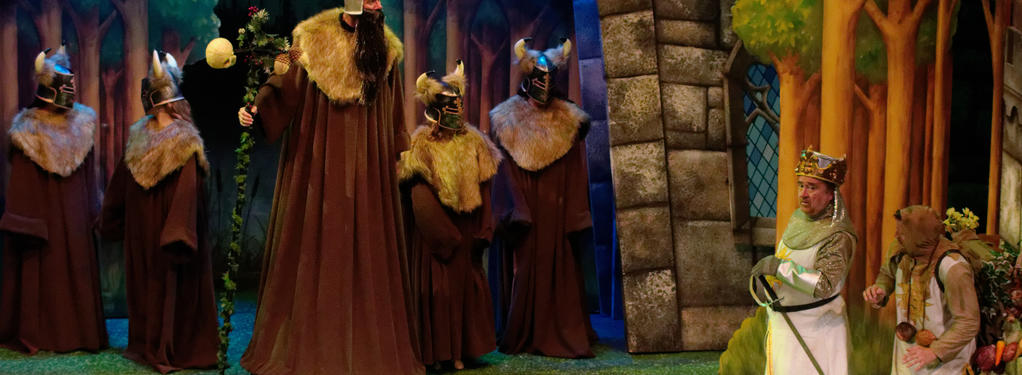 Photograph from Monty Python's Spamalot - lighting design by Theo Farringdon