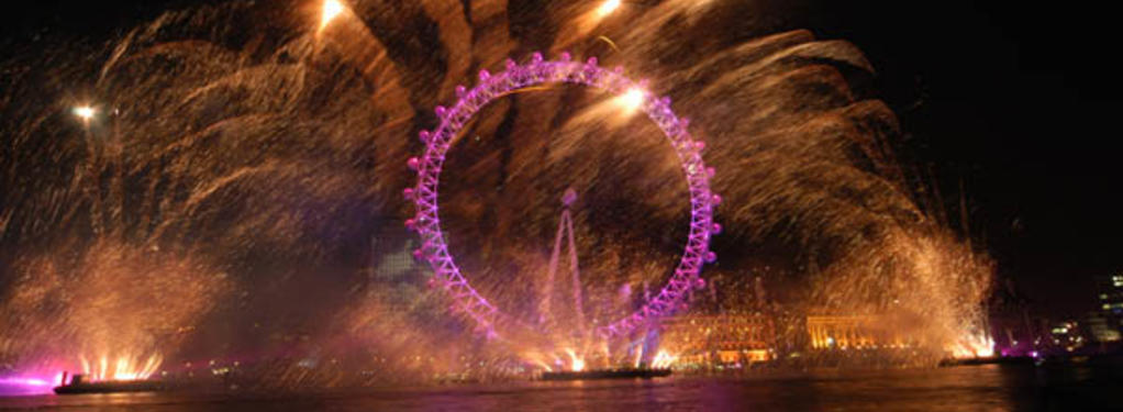 Photograph from New Years Eve at the London Eye - lighting design by Durham Marenghi