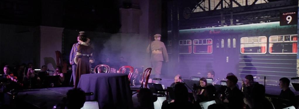 Photograph from Men Who March Away - lighting design by Nigel Lewis