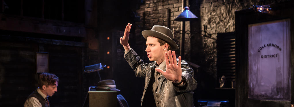 Photograph from Murder for Two - lighting design by Christopher Withers