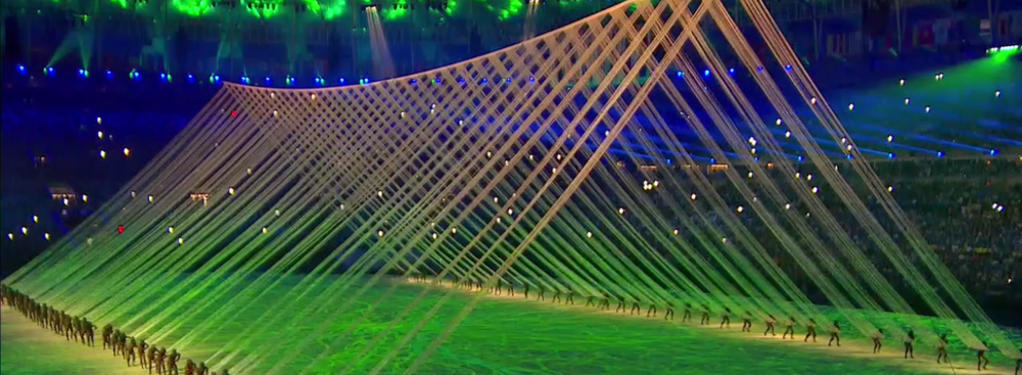 Photograph from Rio Olympics Opening and Closing Ceremonies - lighting design by Durham Marenghi