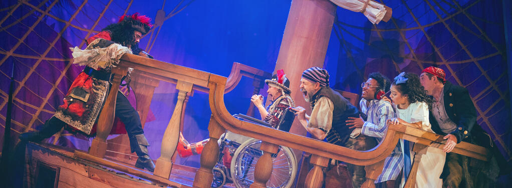 Photograph from Peter Pan Goes Wrong - lighting design by Matthew Haskins