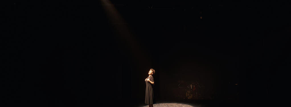 Photograph from Songs for Nobodies - lighting design by HawkinsLX