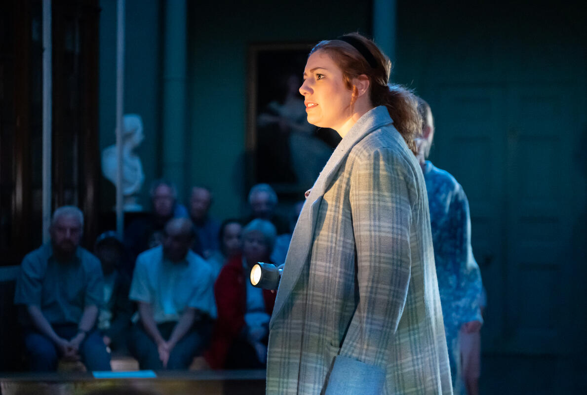 Photograph from Hauntings and Pork Pies - lighting design by Ryan Stafford