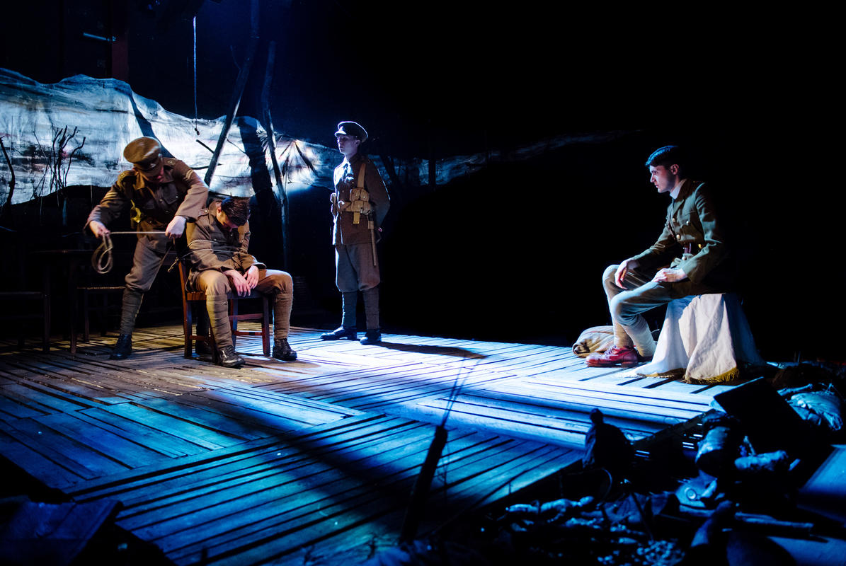 Photograph from For King and Country - lighting design by Robbie Butler