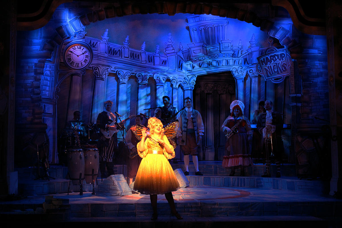 Photograph from Cinderella Rock and Roll Panto - lighting design by Jason Salvin