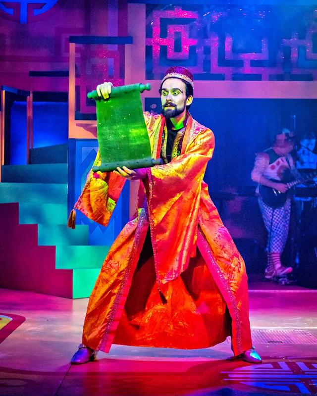 Photograph from Aladdin Rock & Roll Panto - lighting design by Jason Salvin