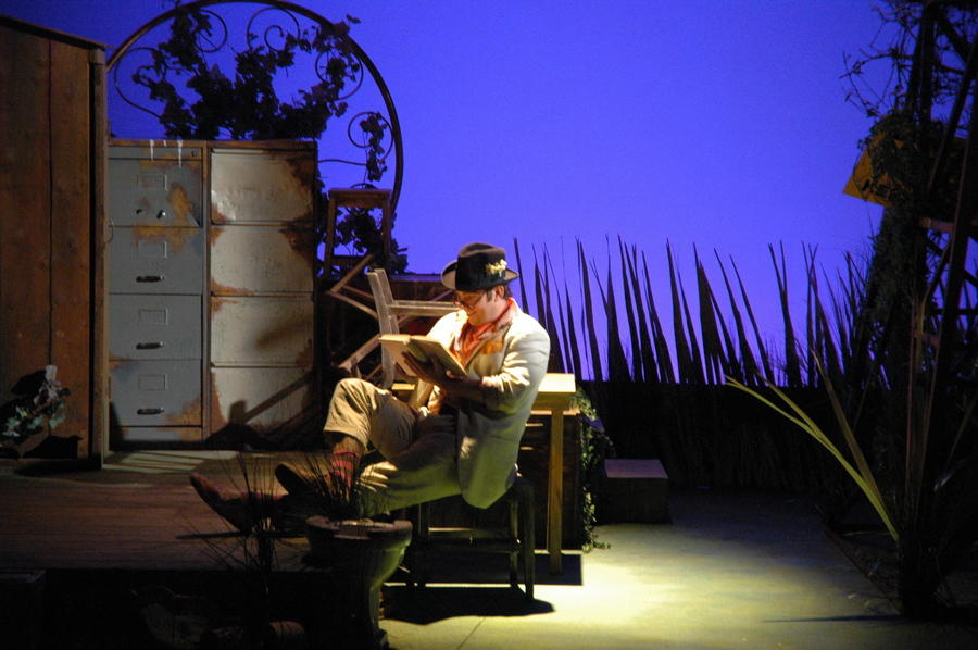 Photograph from The Twits - lighting design by Simon Wilkinson