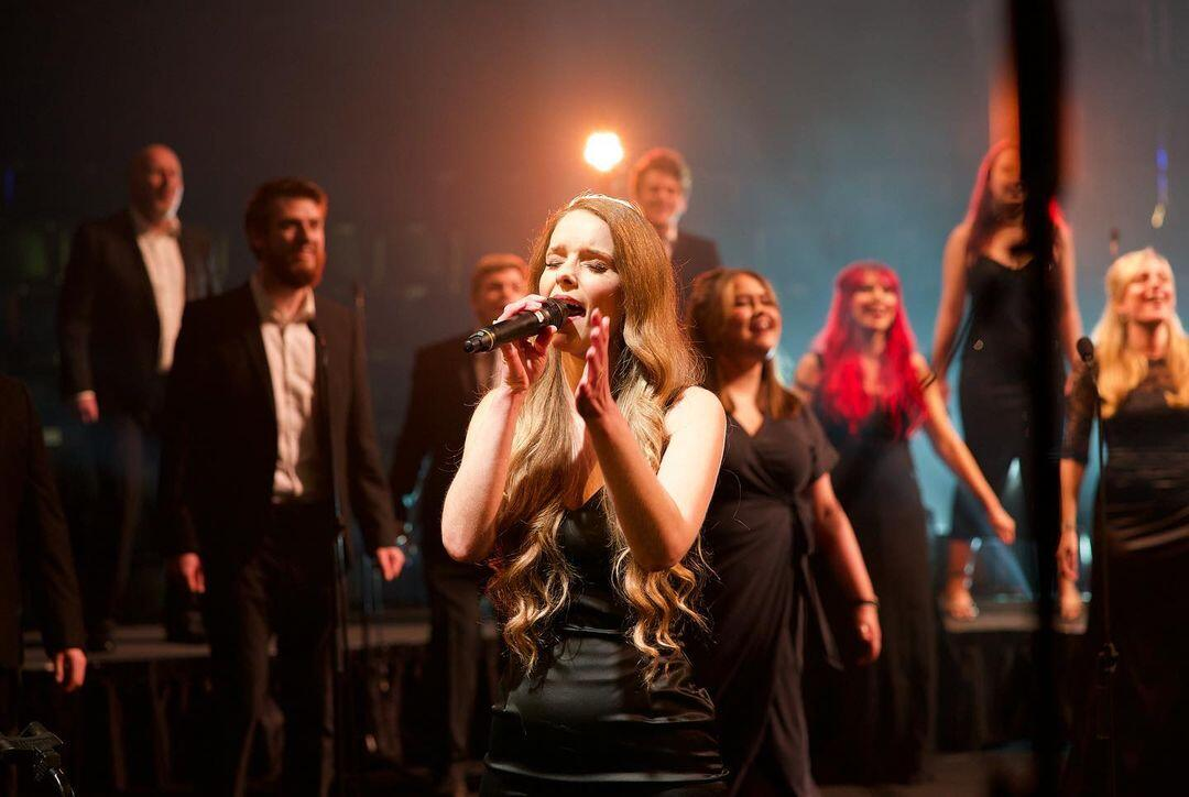Photograph from Rock Choir, Comic Relief Concert - lighting design by Joseph Ed Thomas