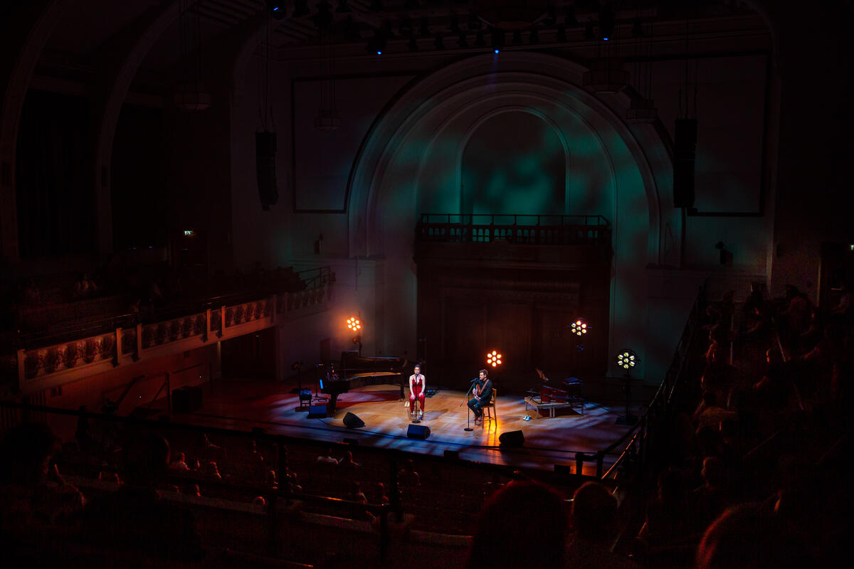 Photograph from Lucie Jones and David Hunter Live - lighting design by Joseph Ed Thomas