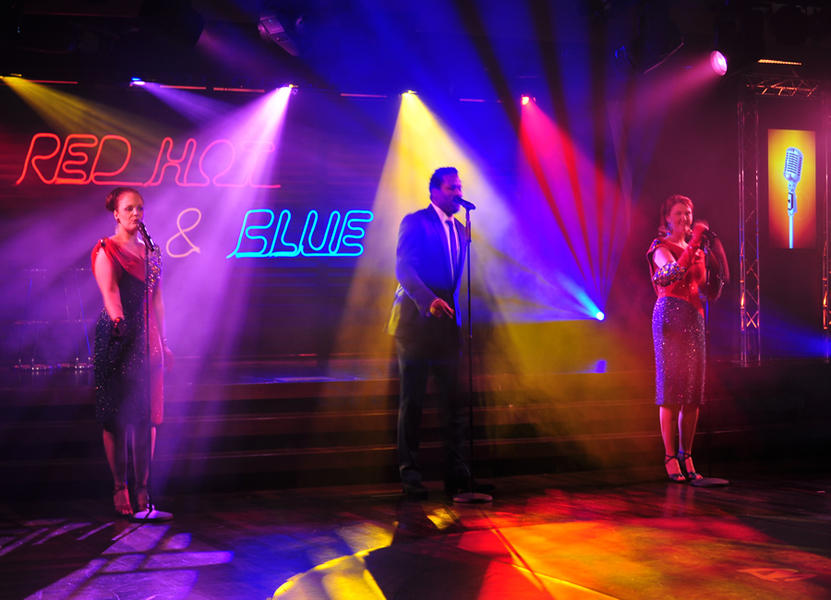 Photograph from Red Hot and Blue - lighting design by David Totaro