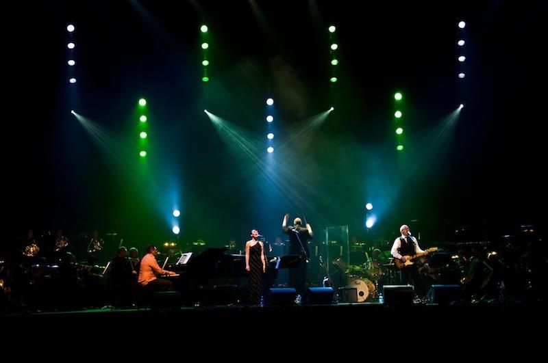 Photograph from Dave Dobbyn with the CSO - lighting design by Brendan Albrey