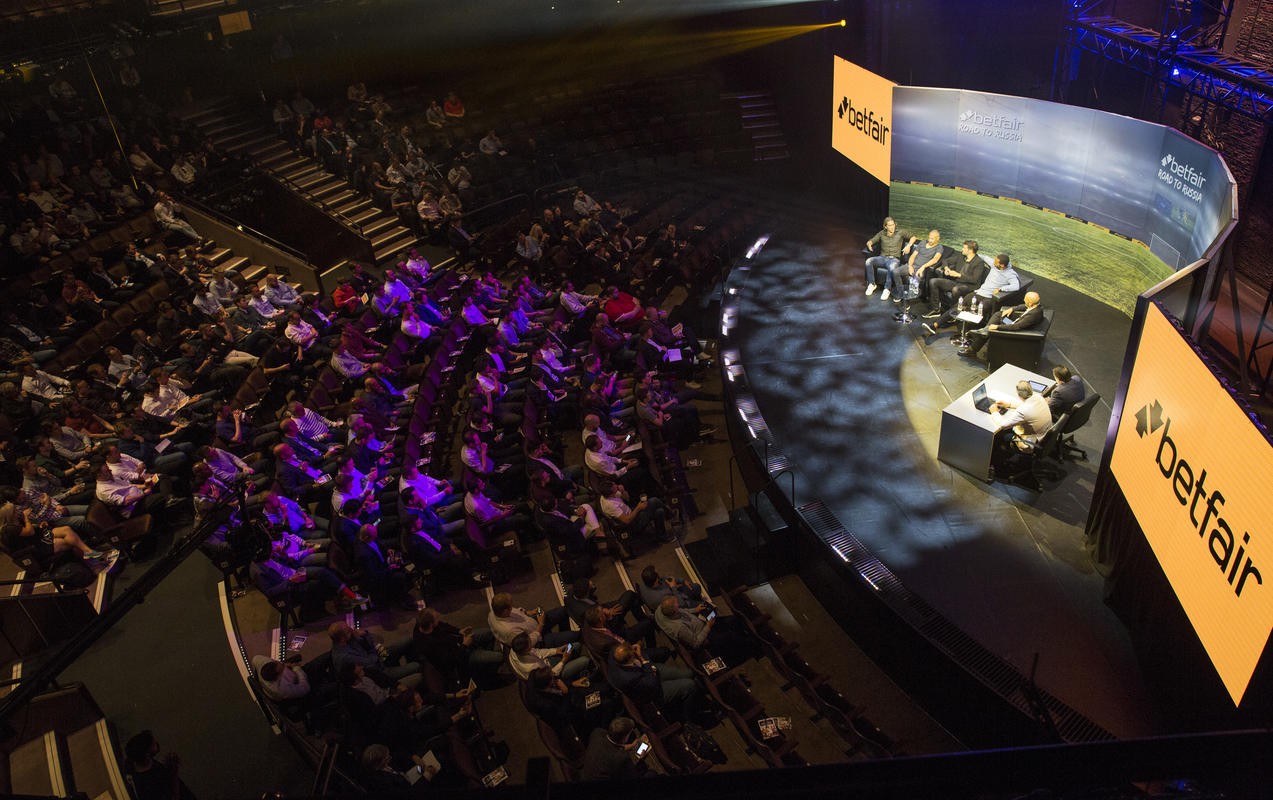 Photograph from BETFAIR ROAD TO RUSSIA LIVE - lighting design by Sam Ohlsson