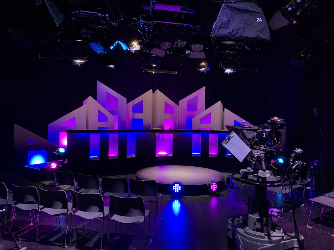 Photograph from 'University Challenged' Panel Show 2020 Bath Spa University TV Studios - lighting design by Chris Barham