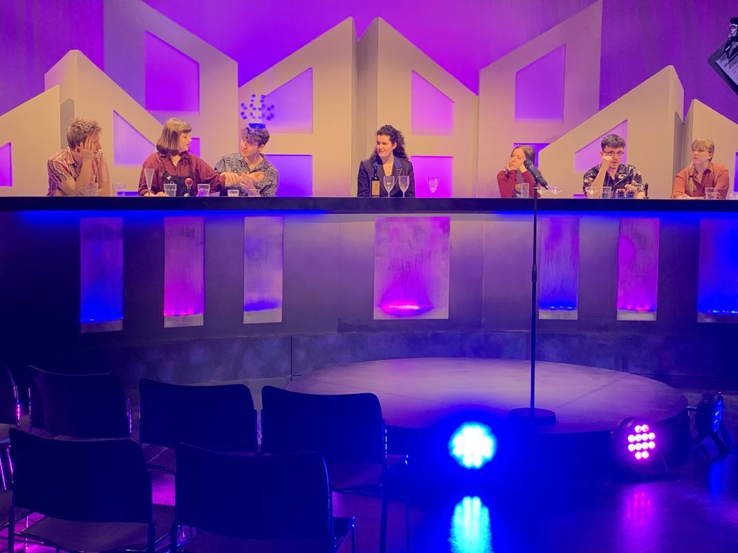 Photograph from 'University Challenged' Panel Show 2020 Bath Spa University TV Studios - lighting design by Chris Barham