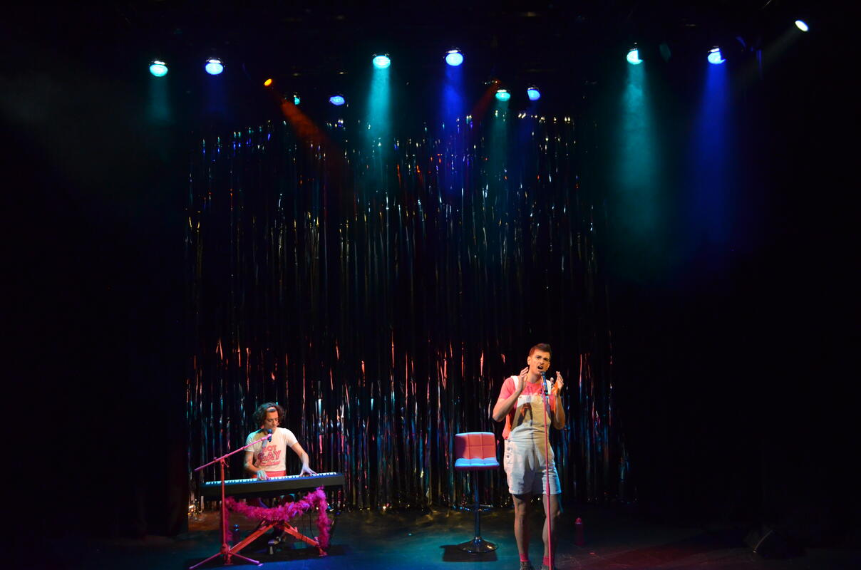 Photograph from Hot Gay Time Machine - lighting design by CatjaHamilton