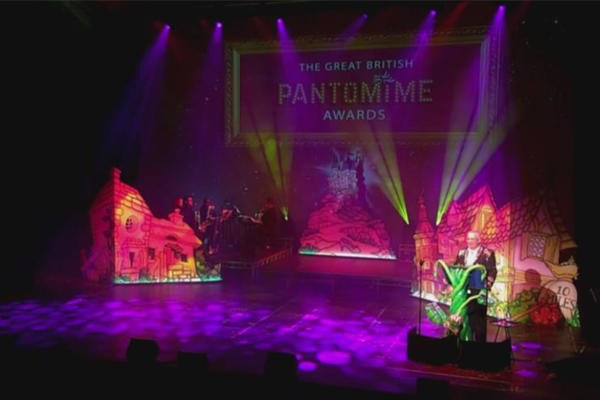 Photograph from The Great British Pantomime Awards 2018 - lighting design by Jason Salvin