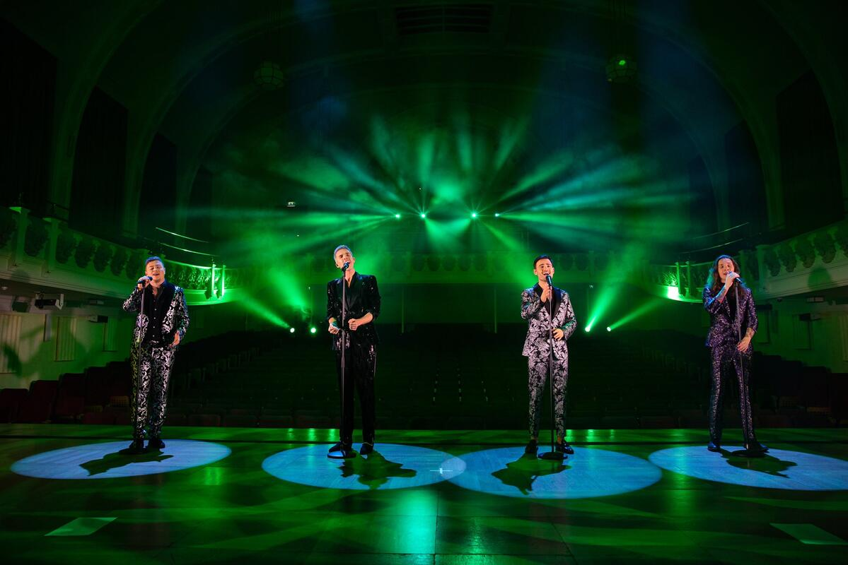 Photograph from Collabro Christmas is Here - lighting design by Joseph Ed Thomas