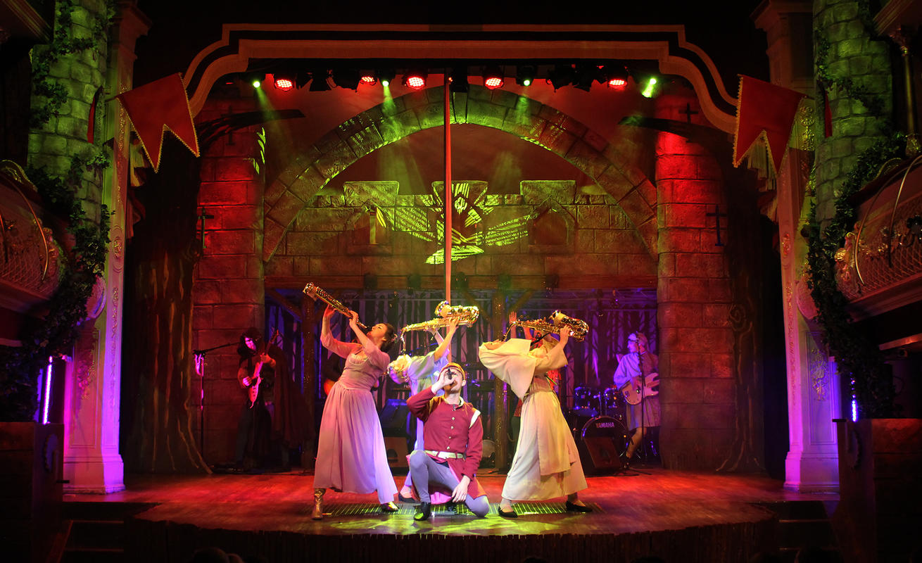 Photograph from Robin Hood & the Babes in the Wood - lighting design by Jason Salvin