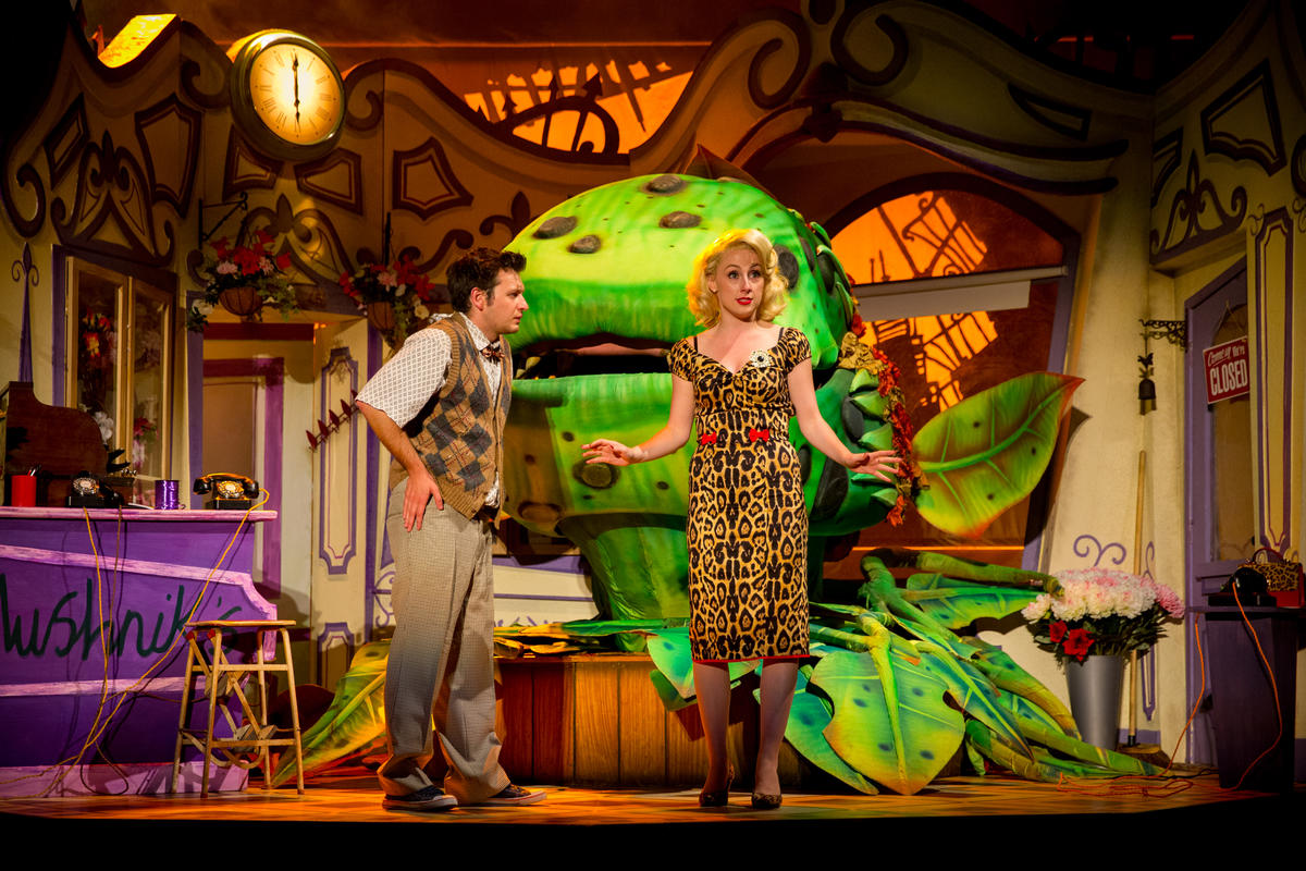 Photograph from Little Shop of Horrors - lighting design by Charlie Morgan Jones