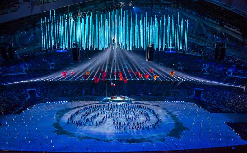 Photograph from Sochi Winter Paralympics Opening and Closing Ceremonies - lighting design by Durham Marenghi