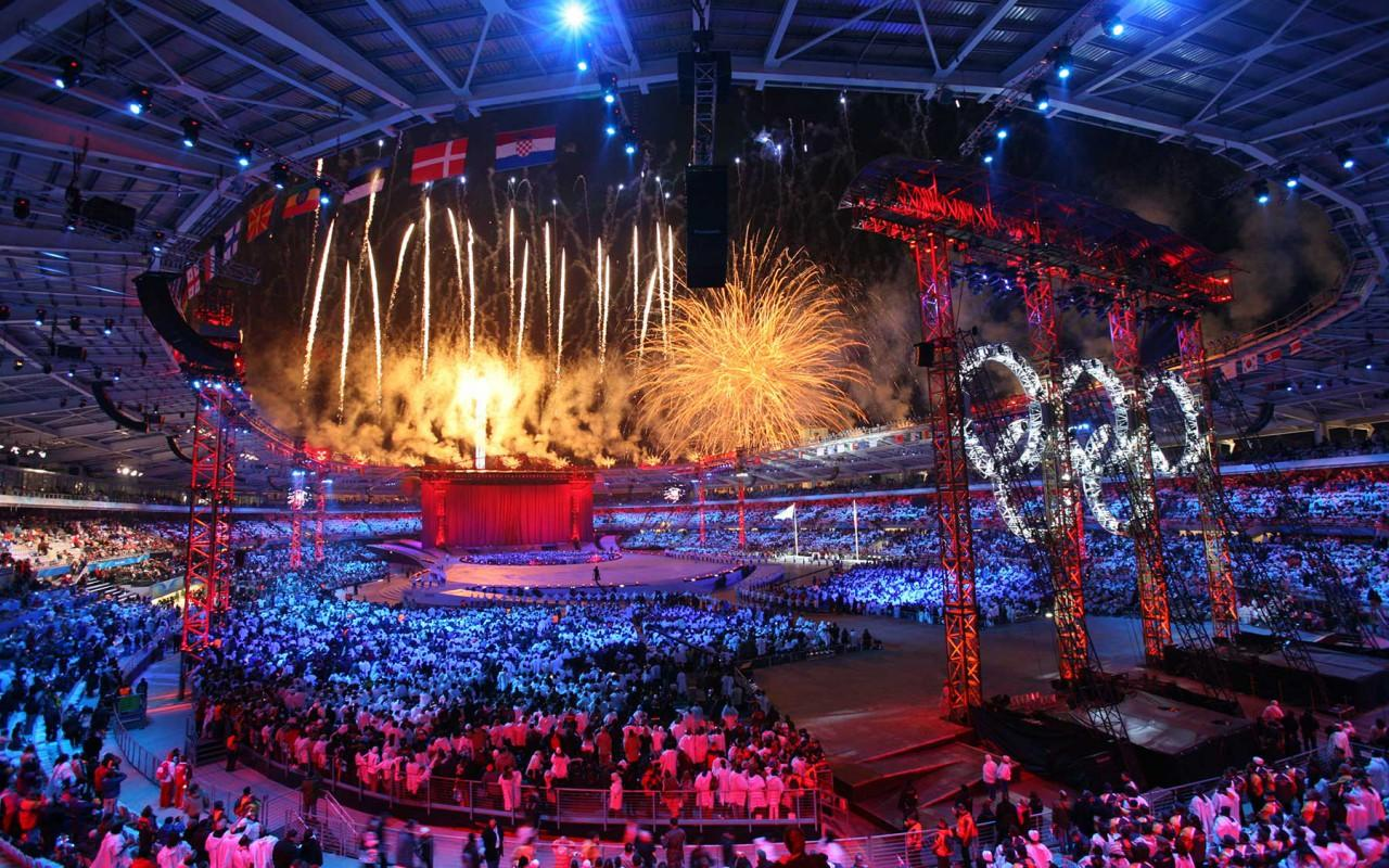 Photograph from Turin Winter Olympics Opening Ceremony - lighting design by Durham Marenghi