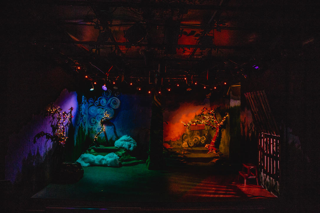 Photograph from Cinderella and the Beanstalk - lighting design by Ali Hunter
