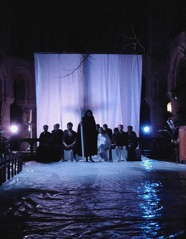 Photograph from Curlew River - lighting design by Edward Saunders