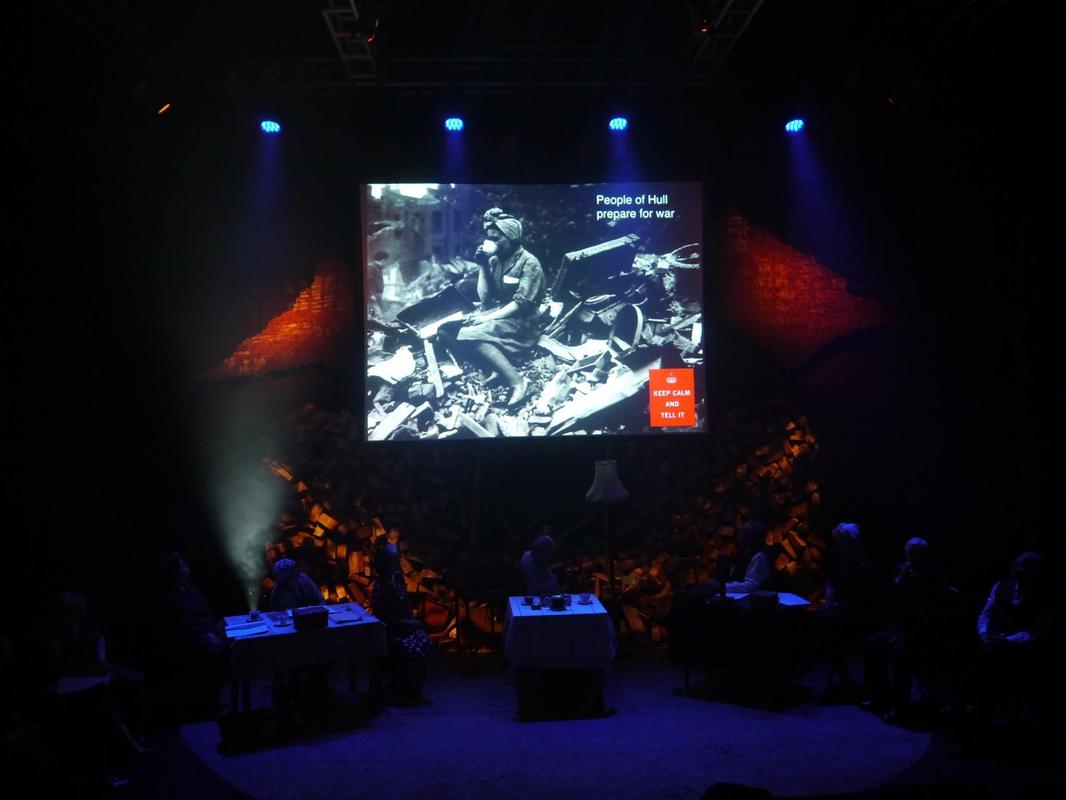 Photograph from Keep Calm and Tell It - The Real Stories of Hull in the Blitz - lighting design by Jason Addison