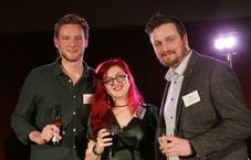 Celebrating success and recognition in lighting design: 2017 Michael Northen Bursary (MNB) Award winners, left to right: Hector Murray, Jess Bernberg and Jack Coleman