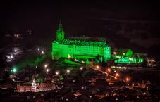 Heidecksburg Castle lit in green