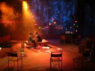 Photograph from Sons without Fathers - lighting design by Alex Wardle