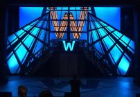 Photograph from How to Succeed in Business Without Really Trying - lighting design by Adam Murdoch