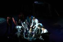 Photograph from Guys and Dolls - lighting design by Wally Eastland
