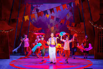 Photograph from Aladdin - lighting design by Matthew Haskins