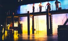 Photograph from The Riot - lighting design by Alex Wardle