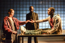 Photograph from The Strange Death of John Doe - lighting design by Matthew Haskins