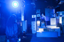 Photograph from Loose Lips - lighting design by Zoe Spurr