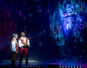 Photograph from Aladdin - lighting design by Matthew Clutterham
