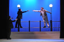 Photograph from One Man Two Guvnors - lighting design by Michael Dobbs