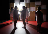 Photograph from Fat Blokes - lighting design by Marty Langthorne