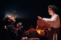Photograph from Daphne Oram's Wonderful World of Sound - lighting design by Simon Hayes