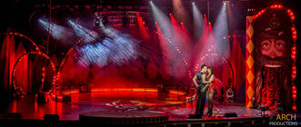 Photograph from Mr Tickertons Clockwork Circus - lighting design by Archer