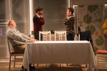 Photograph from Tribes - lighting design by Laura Hawkins