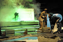 Photograph from The Ragged Trousered Philanthropist - lighting design by Chloe Kenward